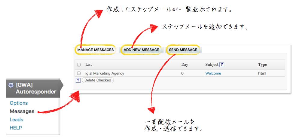 オートレスポンダーメッセージ管理画面