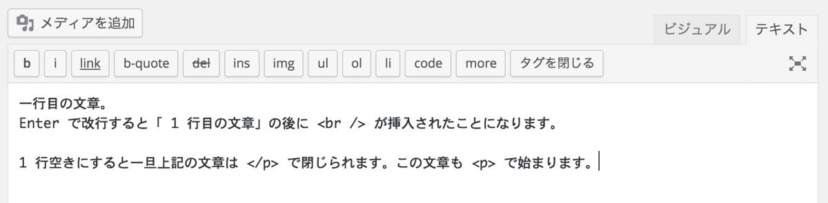 WordPressHTMLエディタの改行イメージ