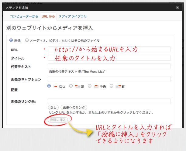 URLを指定して画像を挿入