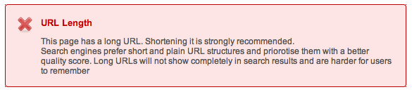 URL Lengthの警告